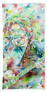 Jerry Garcia Playing The Guitar Watercolor Portrait.2 Beach Towel