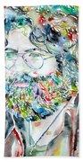 Jerry Garcia Watercolor Portrait.2 Beach Towel