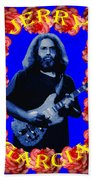 Jerry In Blue With Rose Frame Beach Towel