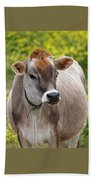 Jersey Cow With Attitude - Vertical Beach Towel