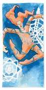 Jester With Snowflakes Beach Towel by Genevieve Esson