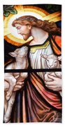 Jesus And Lambs Beach Towel
