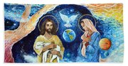 Jesus And Mary Cloud Colored Christ Come Beach Towel