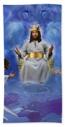 Jesus Enthroned Beach Towel by Tamer and Cindy Elsharouni