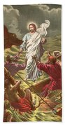 Jesus Walking On The Water Beach Towel