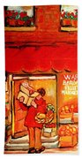 Jewish Culture In Montreal Paintings Of Warshaw's Fruit Store On St.lawrence Street Scene Art  Beach Towel