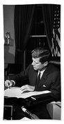 Jfk Signing The Cuba Quarantine Beach Towel by War Is Hell Store