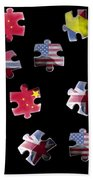 Jigsaw Puzzle Flag Pieces Beach Towel