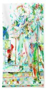 Jim Morrison And The Doors Live On Stage- Watercolor Portrait Beach Towel