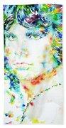 Jim Morrison Watercolor Portrait.5 Beach Towel