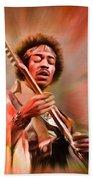 Jimi Hendrix Electrifying Guitar Play Beach Towel