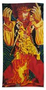 Jimi Hendrix Fire Beach Towel