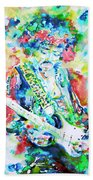 Jimi Hendrix Playing The Guitar.2 -watercolor Portrait Beach Towel