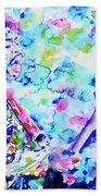 Jimi Hendrix Playing The Guitar.4 -watercolor Portrait Beach Towel