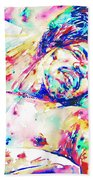 Jimi Hendrix Sleeping - Watercolor Portrait Beach Towel