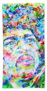 Jimi Hendrix  - Watercolor Portrait.3 Beach Towel