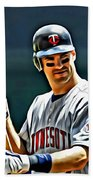 Joe Mauer Painting Beach Towel
