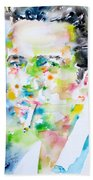 Joe Strummer - Watercolor Portrait Beach Towel