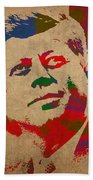 John F Kennedy Jfk Watercolor Portrait On Worn Distressed Canvas Beach Towel by Design Turnpike