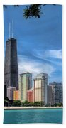 John Hancock Chicago Skyline Panorama Beach Towel