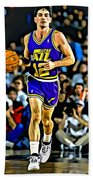 John Stockton Portrait Beach Towel