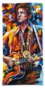 Johnny Cash - Palette Knife Oil Painting On Canvas By Leonid Afremov Beach Towel