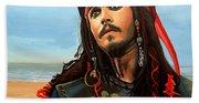 Johnny Depp As Jack Sparrow Beach Towel