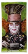 Johnny Depp As Mad Hatter Beach Towel by Melanie D