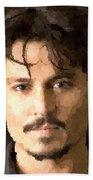 Johnny Depp Portrait Beach Towel