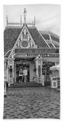 Jolly Holiday Cafe Main Street Disneyland Bw Beach Towel