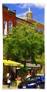Jos Pappos Furs Street Scene Suburban Shops And Store Fronts Sherbrooke Montreal Carole Spandau Art  Beach Towel