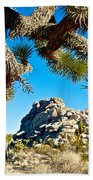 Joshua Tree And Jumbo Rocks By Quail Springs In Joshua Tree Np-ca Beach Towel