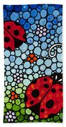 Joyous Ladies Ladybugs Beach Towel by Sharon Cummings