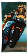 Jumping Valentino Rossi  Beach Towel by Paul Meijering