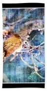 Junco On Icy Branch - Digital Paint II Beach Towel