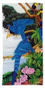 Jungle Chats Hand Embroidery Beach Towel