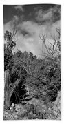Juniper Trees At The Ghost Ranch Black And White Beach Towel