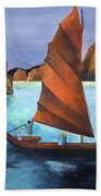 Junks In The Descending Dragon Bay Beach Towel