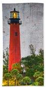 Jupiter Lighthouse Beach Towel by Debra and Dave Vanderlaan