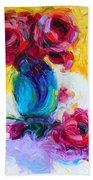 Just Past Bloom - Roses Still Life Beach Towel by Talya Johnson
