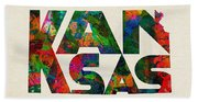 Kansas Typographic Watercolor Map Beach Towel
