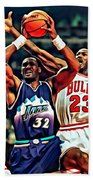 Karl Malone Vs. Michael Jordan Beach Towel