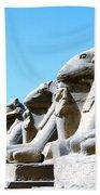 Karnak Temple Statue 14 Beach Towel