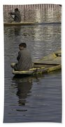 Kashmiri Men Rowing Many Small Wooden Boats In The Waters Of The Dal Lake Beach Towel