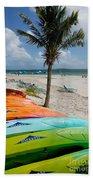 Kayaks On The Beach Beach Towel