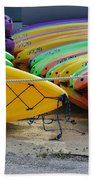 Kayaks Stacked Beach Towel