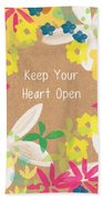 Keep Your Heart Open Beach Towel