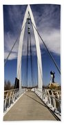 Keeper Of The Plains Bridge View Beach Towel