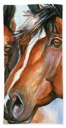 Horse Painting Keeping Watch Beach Towel