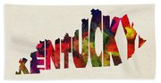 Kentucky Typographic Watercolor Map Beach Towel